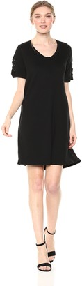 Michael Stars Women's Elevated French Terry lace up Sleeve Dress
