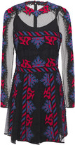 Valentino Pleated Embroidered Point D'esprit Mini Dress