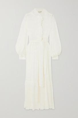 Etro Belted Ruffled Silk-crepon Midi Dress - White