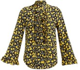 Etro Floral-print Ruffled Silk-chiffon Blouse - Womens - Yellow Multi