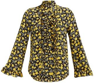 Etro Floral-print Ruffled Silk-chiffon Blouse - Womens - Yellow Multi