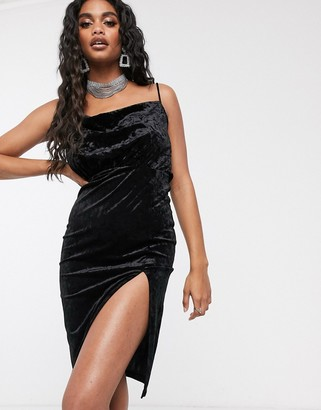 Ivyrevel velvet midi dress with thigh split in black