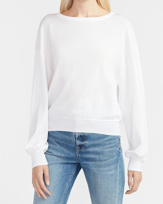 Express Banded Bottom Crew Neck Sweater