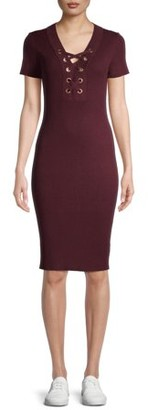 No Boundaries Juniors' Lace up Bodycon Dress with Short Sleeves