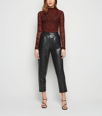 New Look Leather-Look Slim Leg Trousers