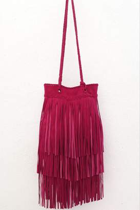 Areias Leather Pink Fringes Bag