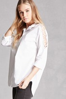 Forever 21 FOREVER 21+ Pixie and Diamond Lace-Up Shirt