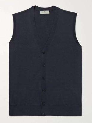 Canali Merino Wool Sweater Vest - Men - Blue