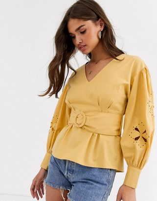Asos DESIGN long sleeve top with cut out sleeve detail and belt