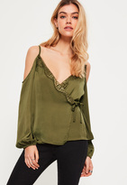 Missguided Khaki Hammered Satin Lace Trim Cold Shoulder Blouse