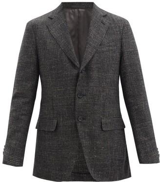 Caruso Single-breasted Wool-blend Check Blazer - Dark Grey