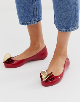 Zaxy valentines heart flat shoes in red