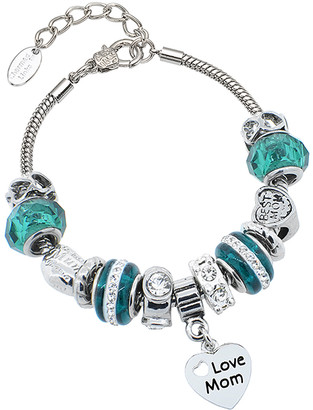 Swarovski Golden Moon Women's Bracelets Teal - Teal Murano Glass 'Love Mom' Charm Bracelet With Crystals