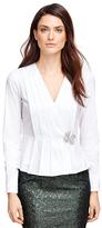 Brooks Brothers Petite Cotton Stretch Pleated Peplum Shirt