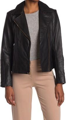 Cole Haan Leather Quilt Trim Moto Jacket
