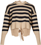 KHAITE Renee striped tie-back cashmere sweater