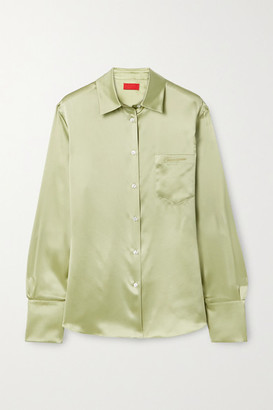 Commission Banker Embroidered Silk-charmeuse Shirt - Sage green