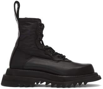 Julius Black Leather Lace-Up Boots