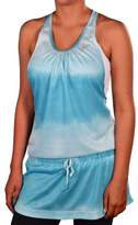 Nike Women's Dri-Fit Knit Tie Dye Reflective Running Dress-Aqua-XS