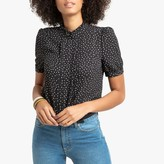 La Redoute Collections High-Neck Polka Dot Blouse with Pleats and Short Puff Sleeves