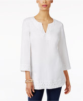 JM Collection Lace Split-Neck Tunic, Only at Macy's