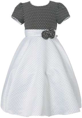 Richie House Girls' Special Occasion Dresses White - Black & White Pin Dot Bow Puff-Sleeve Dress - Toddler & Girls