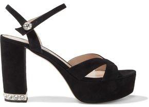 Miu Miu Crystal-embellished Suede Platform Sandals