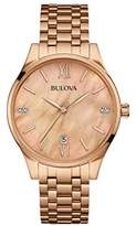 Bulova Women's Quartz Watch with Mother Of Pearl Dial Analogue Display and Rose Gold Rose Gold Bracelet 97S113