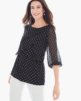 Chico's Polka Dot Ruffle-Front Top
