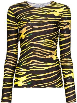 Marine Serre Zebra Stripe-Print Jersey Top