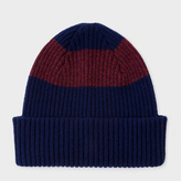 Paul Smith Men's Navy Ribbed Lambswool Beanie Hat With Plum Stripe