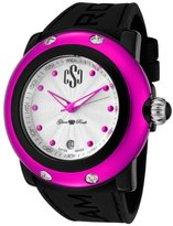 Glam Rock Women's GRD62006-NCR Miami Beach Silver Textured Dial Black Silicone Watch