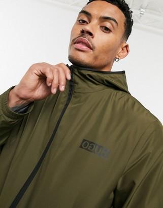 HUGO BOSS Ben2021 light weight hooded jacket in khaki