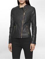 Calvin Klein Womens Faux Leather Rib Knit Moto Jacket