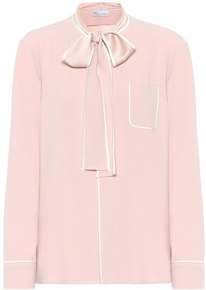 RED Valentino Tie-neck crepe blouse