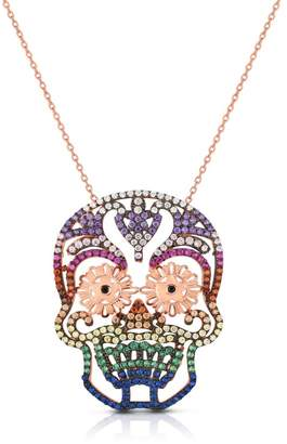 Sphera Milano 14K Yellow Gold Plated Sterling Silver Pave Rainbow CZ Fiesta Skull Pendant Necklace