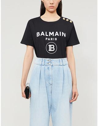 Balmain Logo-print cotton-jersey T-shirt, Size: 6