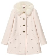 Juicy Couture Pale Pink Jewelled Coat with Faux Fur Collar