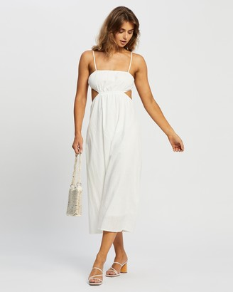 Reverse Women's White Midi Dresses - Cut Out Cotton Midi Dress - Size S at The Iconic