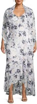 Alex Evenings Plus Floral Cape-Sleeve Maxi Dress & Shawl