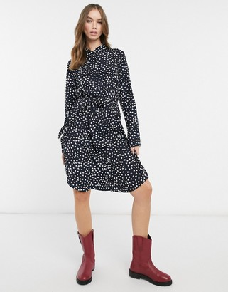 Brave Soul tie waist midi shirt dress in black with heart print