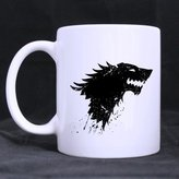 Custom Mugs Game Thrones Stark Wolf Customized Personalized Coffee Mugs Beer Mug Ceramic Water Cups Office Home Cup 11 OZ Two Sides Printed
