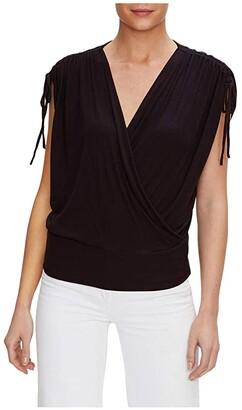 Michael Stars Cadence 2x1 Rib Ruched Sleeve Surplice Top (Black) Women's Clothing