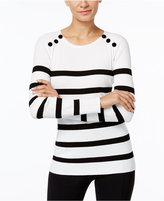 INC International Concepts Petite Velvet-Button Striped Sweater, Only at Macy's