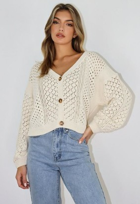 Missguided Cream Crochet Knit Cardigan