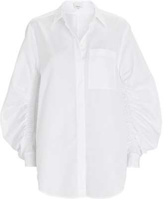 3.1 Phillip Lim Gathered Poplin Button-Down Shirt