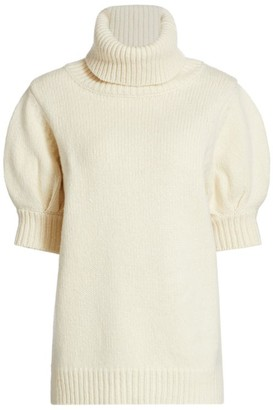 Adam Lippes Short-Sleeve Wool & Cashmere Knit Turtleneck Sweater