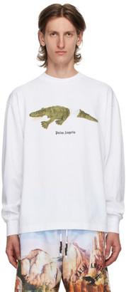 Palm Angels White Croco Long Sleeve T-Shirt