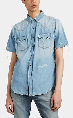 Saint Laurent Men's Distressed Chambray Western Shirt - Lt. Blue
