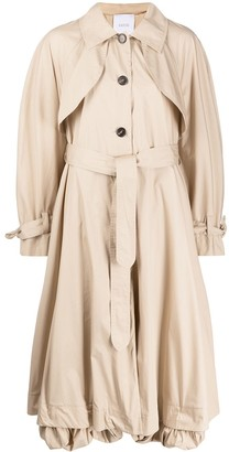 Patou Flared Belted Trench Coat